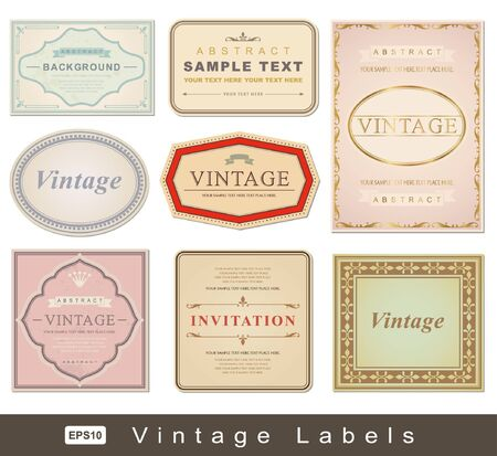 vector set: vintage labels - inspired by antique originals  向量圖像