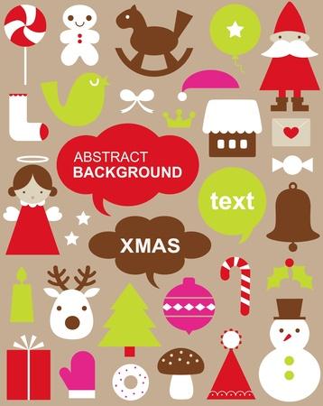 arboles de caricatura: Ilustraci�n vectorial - conjunto de iconos de Navidad  Vectores