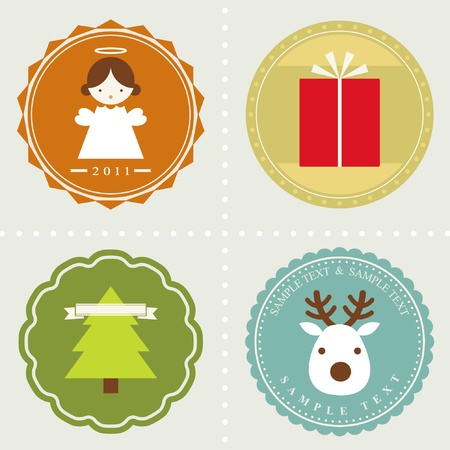 vector set: Christmas labels  向量圖像