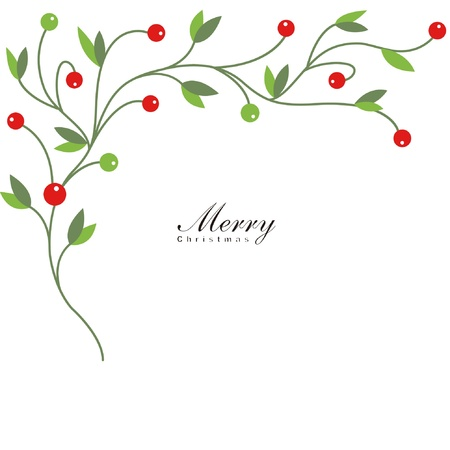Christmas holly with red berries Illustration