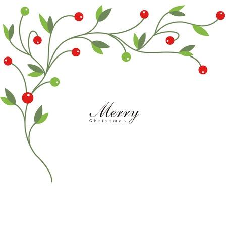 Kerst hulst met rode bessen Vector Illustratie
