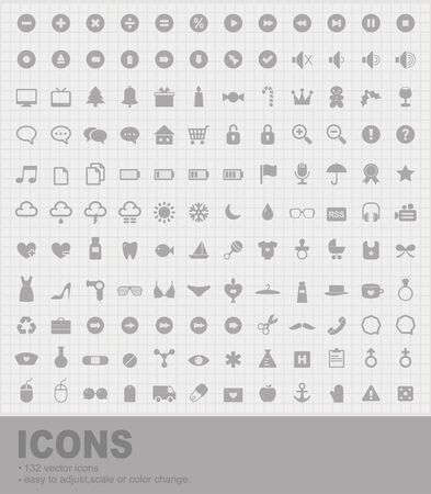 Pack of 132 Icons Vector