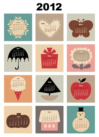 Vector Illustration of colorful style design Calendar for 2012 Vector