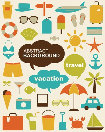 beach bag: design elements related to travel and vacation. Illustration