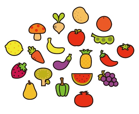 Various Fruits and Vegetables  Stock Vector - 11336930