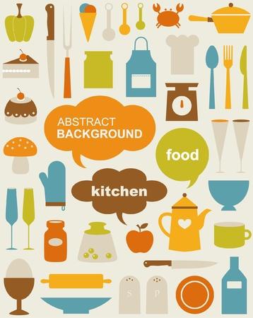 fartuch: Zestaw różnych ikon kuchennych Ilustracja