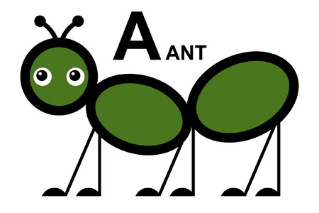 illustration of isolated animal alphabet  A is for ant  Vector illustration   Vector