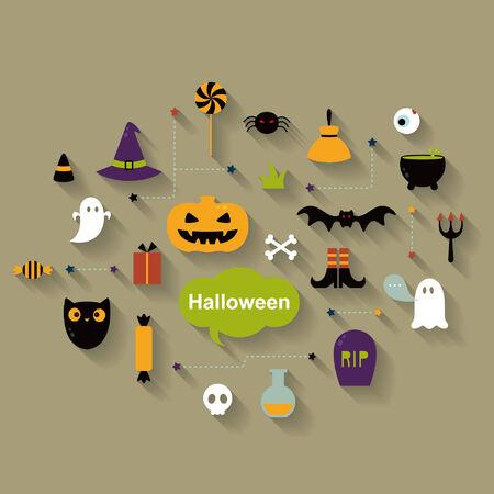 Set of halloween icons Vector