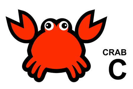 isolated animal: illustration of isolated animal alphabet. C is for crab. Vector illustration. Illustration