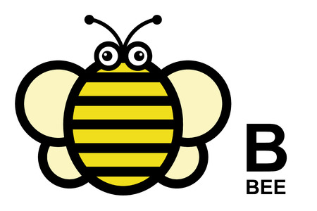 isolated animal: illustration of isolated animal alphabet. B is for bee. Vector illustration.