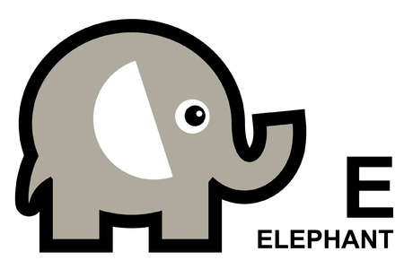 isolated animal: illustration of isolated animal alphabet. E is for elephant. Vector illustration.