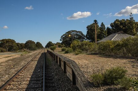 midday: Midday landscape with abandoned railway platform Stock Photo