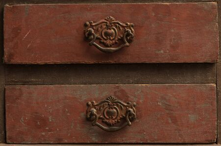 drawers: Close up of two rustic weathered retro drawers Stock Photo