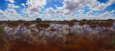 australian outback: Flooded Australian outback remote area natural disaster