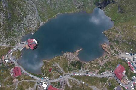 Air view in Balea Lake Transfagarasan Transilvania Romania
