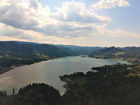 Air view over the Colibita Lake in Transilvania Romania