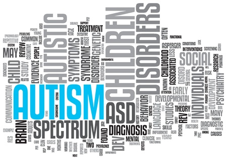 consciência: Autismo Concept Design Nuvem Palavra no fundo branco Banco de Imagens