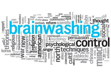 Brainwashing Concept Design Word Cloud on White Background