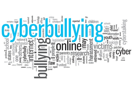 Cyber Bullying Concept Design Word Cloud on White Background photo