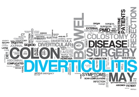 Diverticulitis Concept Design Word Cloud on White Background photo
