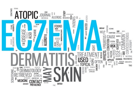 rash: Eczema Concept Design Word Cloud on White Background Stock Photo
