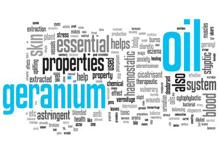 Geranium Oil Concept Design Word Cloud on White Background
