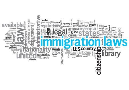 移民法律の概念設計の単語雲白い背景の上