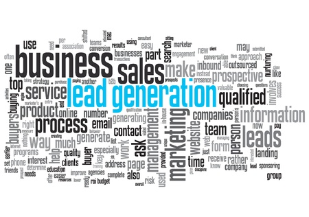 a generation: Lead Generation Concept Design Word Cloud on White Background Stock Photo