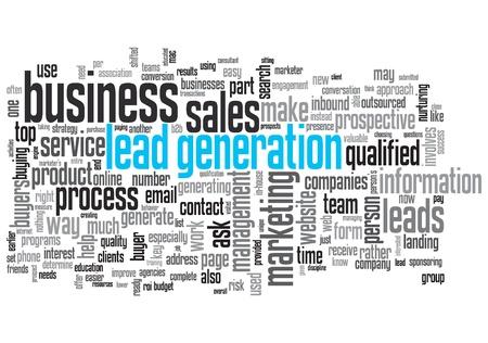 Lead Generation Concept Design Wort-Wolke auf weißem Hintergrund