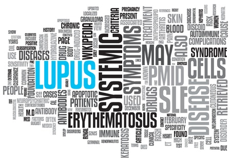erythematosus: Lupus Concept Design Word Cloud on White Background