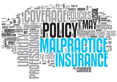 Malpractice Insurance Design Word Cloud on White Background Stock Photo