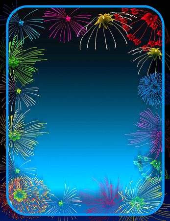 crackers: fireworks border Stock Photo
