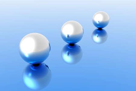 raytrace: 3d render illustration of 3 chromed spheres Stock Photo