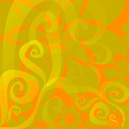 Vector illustration of Floral background ( orange - lime green) illustration
