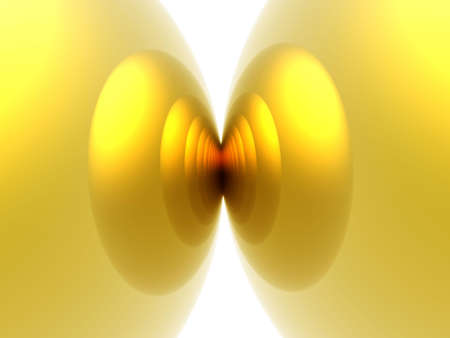 irradiation: Computer generated illustration of abstract background with golden spheres merging Stock Photo