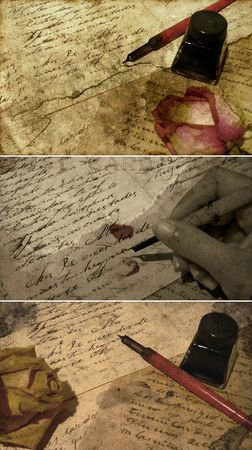 Love letter - poetry time - sepia toned handwriting with roses photo