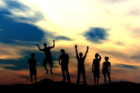 Happy Team - Sunset