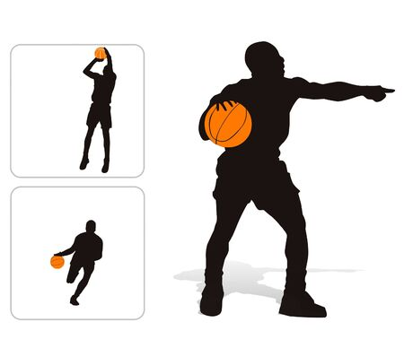 Vector illustration of 3 basketball players silhouettes - isolated illustration