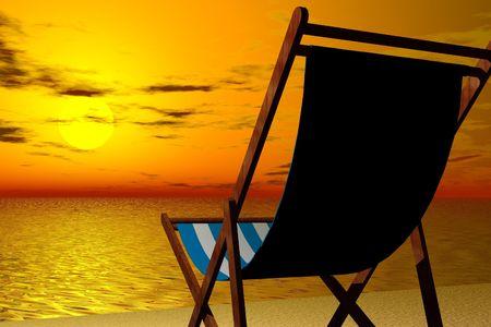 Illustration of Beach chair at sunset Stock fotó