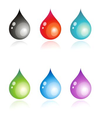 6 vector illustration of colorful drops illustration