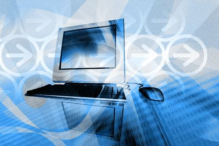 IT technology business - desktop computer with abstract design elements in blue background