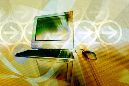IT technology business - desktop computer with abstract design elements  Stock Photo - 2736744