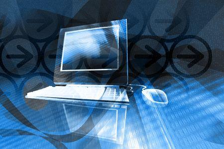 IT 기술 비즈니스 - 파란색 배경에서 추상 디자인 요소와 데스크탑 컴퓨터 스톡 콘텐츠