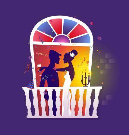 romance: Couple celebrating - romantic dinner on window facade
