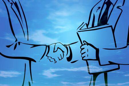 farewell: Illustration of business deal handshake - blue background Stock Photo