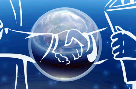 Illustration of business deal handshake - blue background illustration