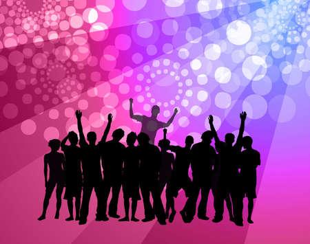 Gente bailando - Discoteca con ambiente de baile multitud siluetas Foto de archivo - 2730047