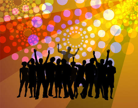 People dancing - disco atmosphere with dancing crowd silhouettes Stock Photo
