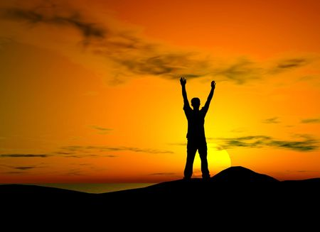 victorious: Silhouette of a man with open arms over sunset background - freedom feeling Stock Photo