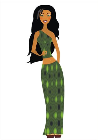 Illustration of isolated brunette beauty isolated 免版税图像